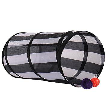 Diversión gato gatito túneles para gatos de interior plegable ejercicio tubo juguetes con campana: Amazon.es: Hogar