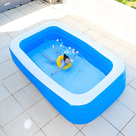 YIRUN Adult Inflatable Pool For Summer Party Piscina Hinchable Infantil Rectangular 4 Aros Colores Ideal para NiñOs/Adulto Azul,318×180×80cm: Amazon.es: Hogar