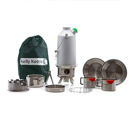 Kelly Kettle Base Camp 54 oz. Anodized Aluminum Ultimate 1.6 LTR Rocket Stove Boils Water Ultra Fast with just Sticks Twigs. for Camping, Fishing, Scouts, Hunting, Emergencies, Hurricanes, Tornados