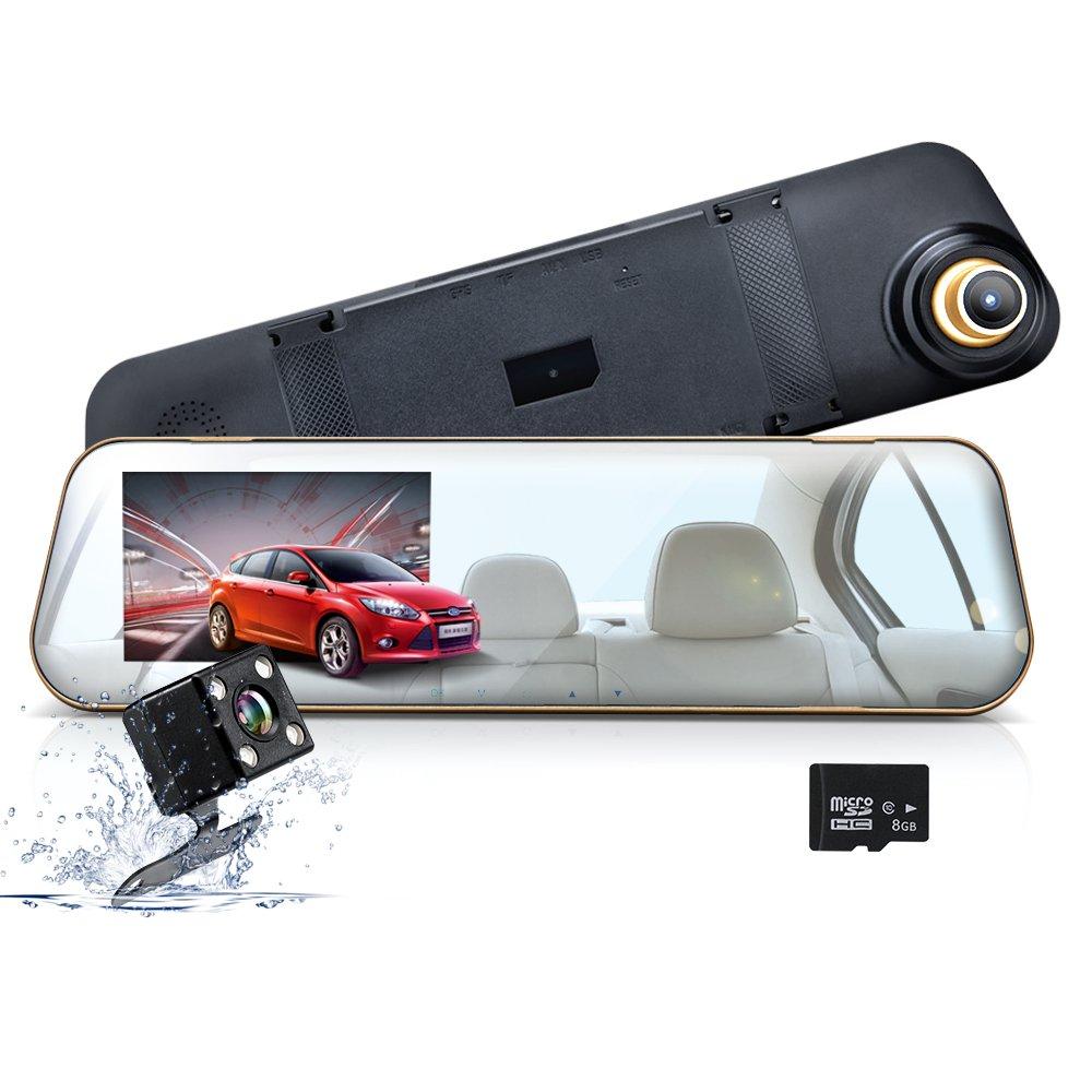 wonyeredデュアルレンズミラーカムフルHD 1080p with 8 G TFカードIncluded 170 ° Wide Angle 4.3インチ画面ループ録画G -センサーナイトビジョン B0786XKZTV