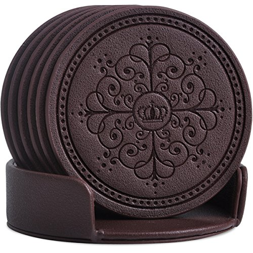- Coasters Set,Classic Pattern Faux Leather Coaster Set of 6 with Holder Protect Furniture by Happydavid (brown round)