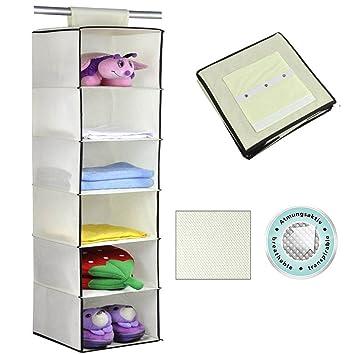73b87d5ea organizador de armarios para niños con 6 compartimentos - Organizador de  tela para colgar - Colgador de armario para ropa y otros accesorios de bebé:  ...