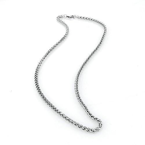 Epinki Acero Inoxidable 3MM Cadena Collar para Hombre Plata ...