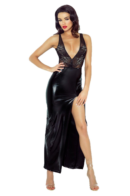 Langes Damen Desssou Maxi-Kleid aus wetlook Material dehnbar fetisch ...