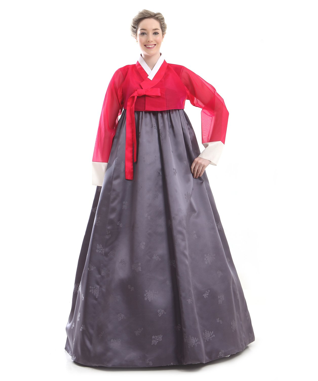Handgemachter 100% Seide Kleid Hanbok Korea Lang Tracht Rot Grau Design Umbund Party Dress Kleid Elegant Fashion Mode Neu