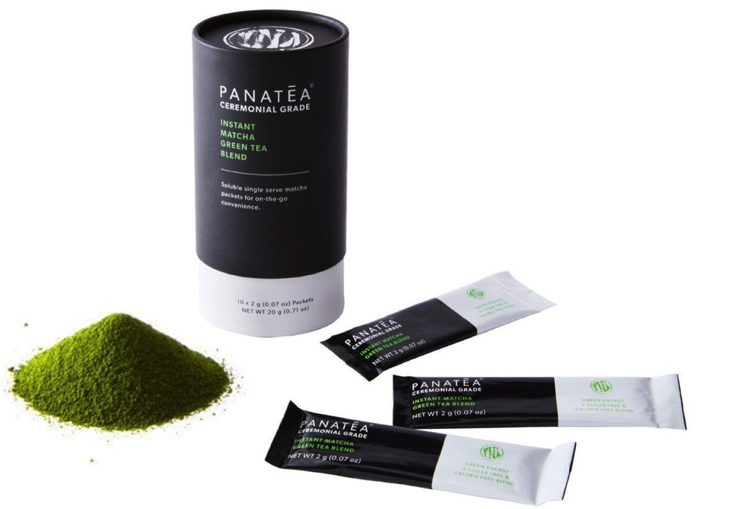 PANATEA Instant Matcha Packets Ceremonial Grade Green Tea Powder Single Serving Matcha On The Go Travel Packs (10 Unit Canister)