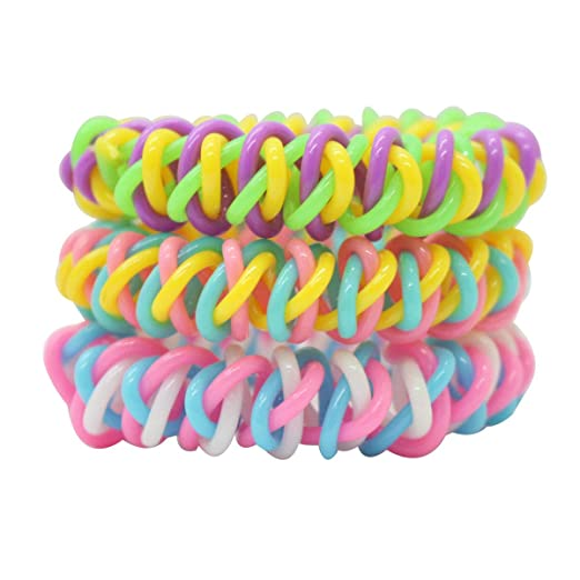 Three Color enlaced Telephone Wire Hair tie scrunchies Cord Elastic Hair  Bands Ponytail Holders (Purple 94112416c8b