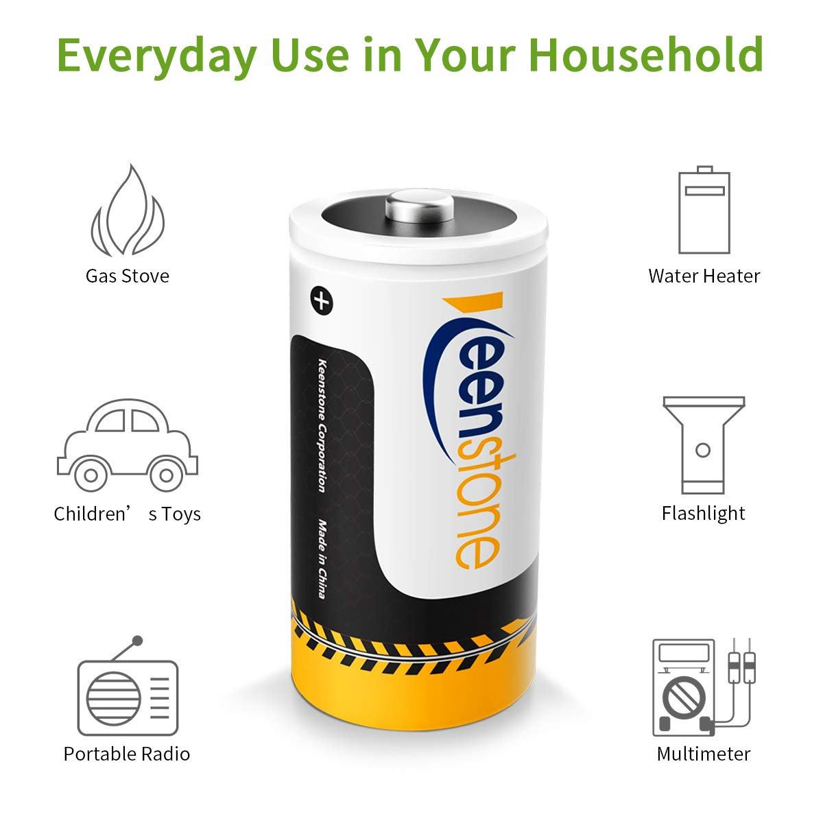 Keenstone C Size 4PCS Pilas Ni-MH Recargables Batería 1.2V 5000mAh 1200 Ciclos Potencia Ultra y Rendimiento Alto, con Cajas de Almacenamiento