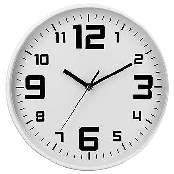 Reloj de pared silencioso - Diámetro 30 cm - Color BLANCO: Amazon.es: Hogar
