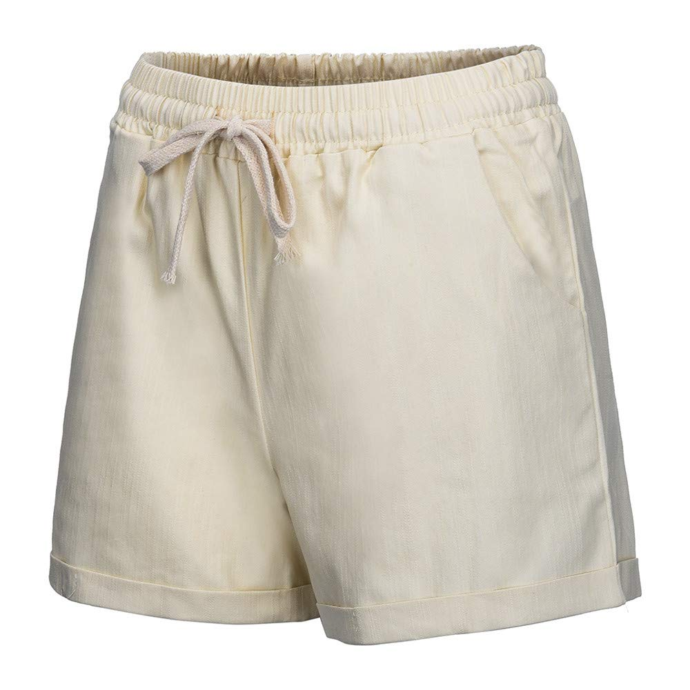 Womens Plus Size Solid Drawstring Elastic Waist Casual Comfy Cotton Beach Shorts with Pocket Kaicran
