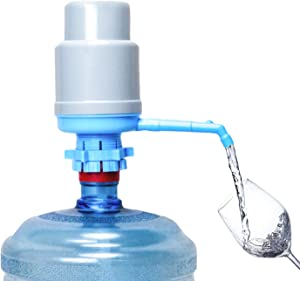Water Bottles Pump Blue Gray Thickened Manual Hand Pressure Drinking Fountain Pressure Pump Water Press Pump with an Extra Short Tube with Cap Fits Most 2-6 Gallon Water Coolers