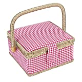 Fabric Household Storage Box Sewing Basket Craft Sewing Tool (2 Color Choice)(Plaid)