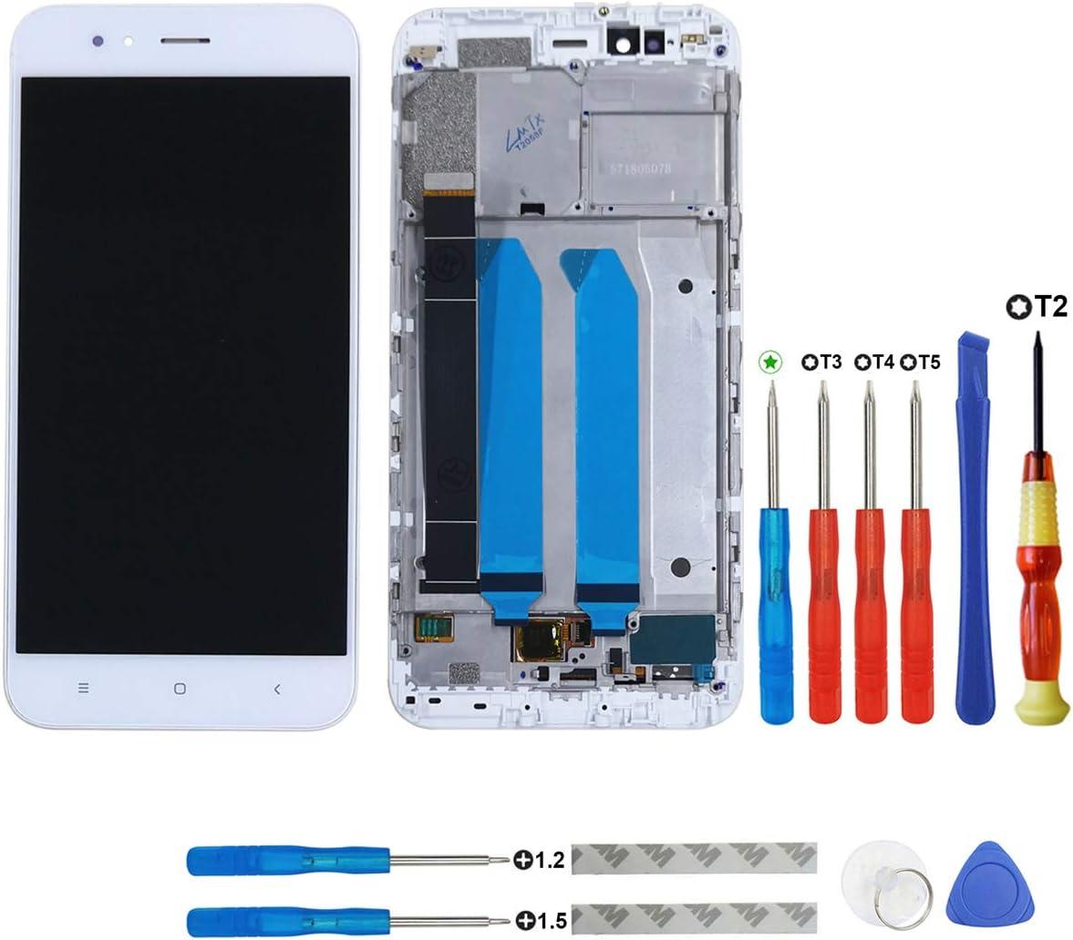 Swark - Pantalla LCD para Xiaomi Mi 5X/Mi A1 MiA1, con digitalizador, incluye marco y herramientas, color blanco