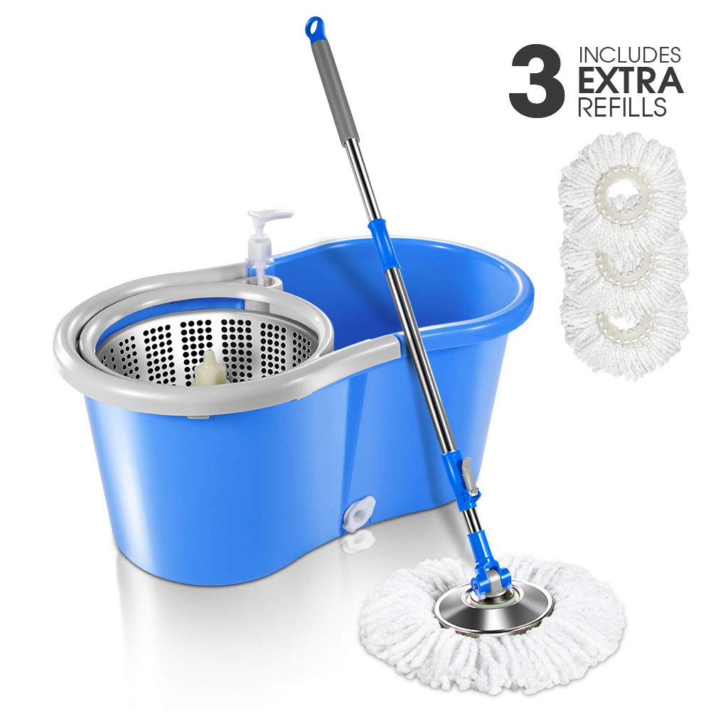 5L 360 Magic Microfiber Spin Mop and Stainless Steel Bucket 9.8''x18''x7.9'' with 3 Pcs Microfiber Mop Heads for Floor Cleaning by Mastertop