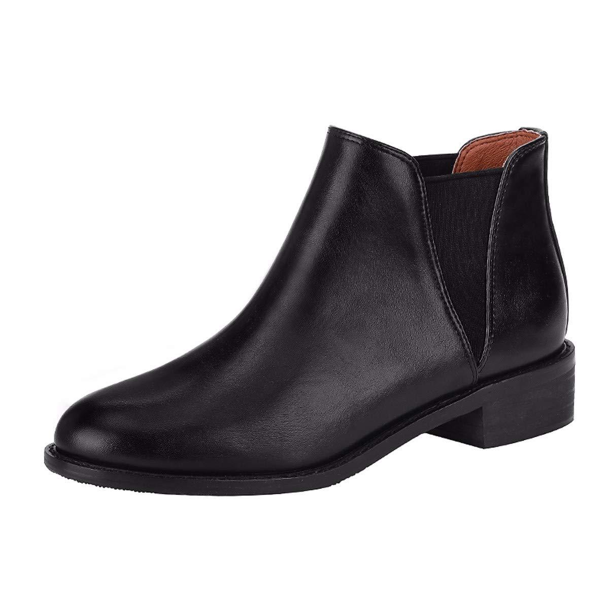 KOKQSX-Damen - Stiefel echtes Leder Runden Kopf modischen Stiefeletten Chelsea Stiefel.
