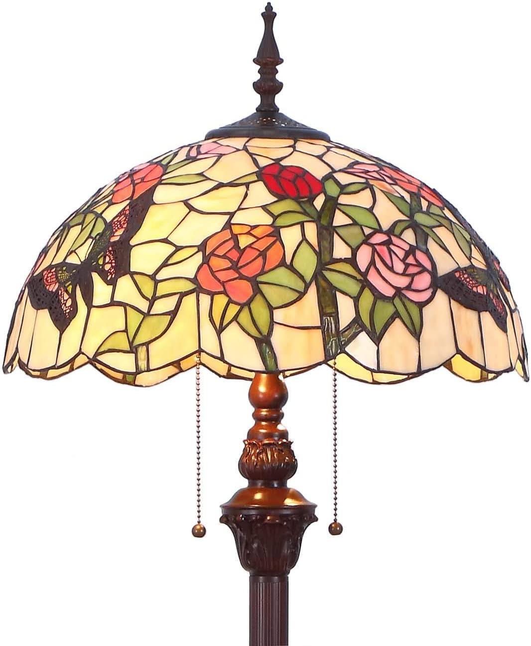 Bieye L11408 Butterfly Tiffany Style Stained Glass Floor Lamp with 16-inch Wide Handmade Lampshade Metal Base for Bedroom Living Room, 59-inch Tall
