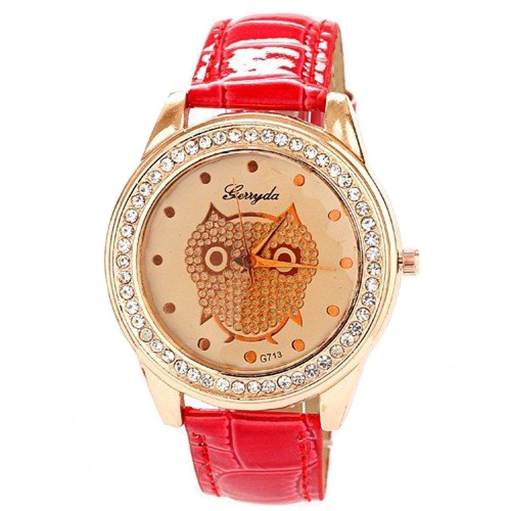 Amazon.com: Gullor Newest Hot Rhinestone Watches relojes PU Watch Luxury Women Brand quartz Clock leather Girls Watch: Watches