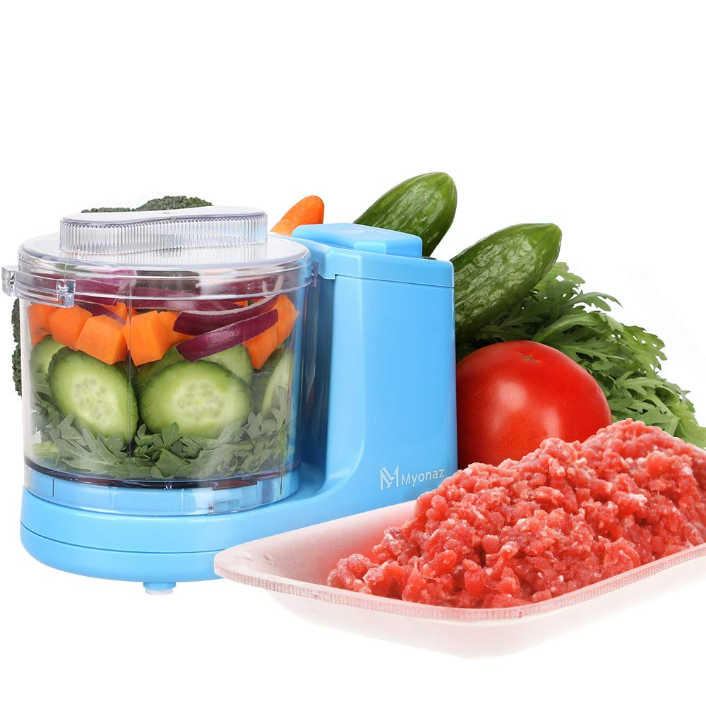MYONAZ Mini Chopper 2 Cup One-Touch Mini Food Chopper for Blending Vegetable Fruit and Meat (Blue)