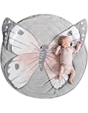 MJTP Baby Play Mat Round Cotton Animal Nursery Rug Baby Floor Crawling Mat Game Blanket Non-Slip Play Mat (butterfly)