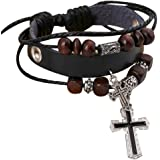 Mostsola Fashion Cross Pendant Multilayer Handmade Leather Wristband Bracelet Bangle