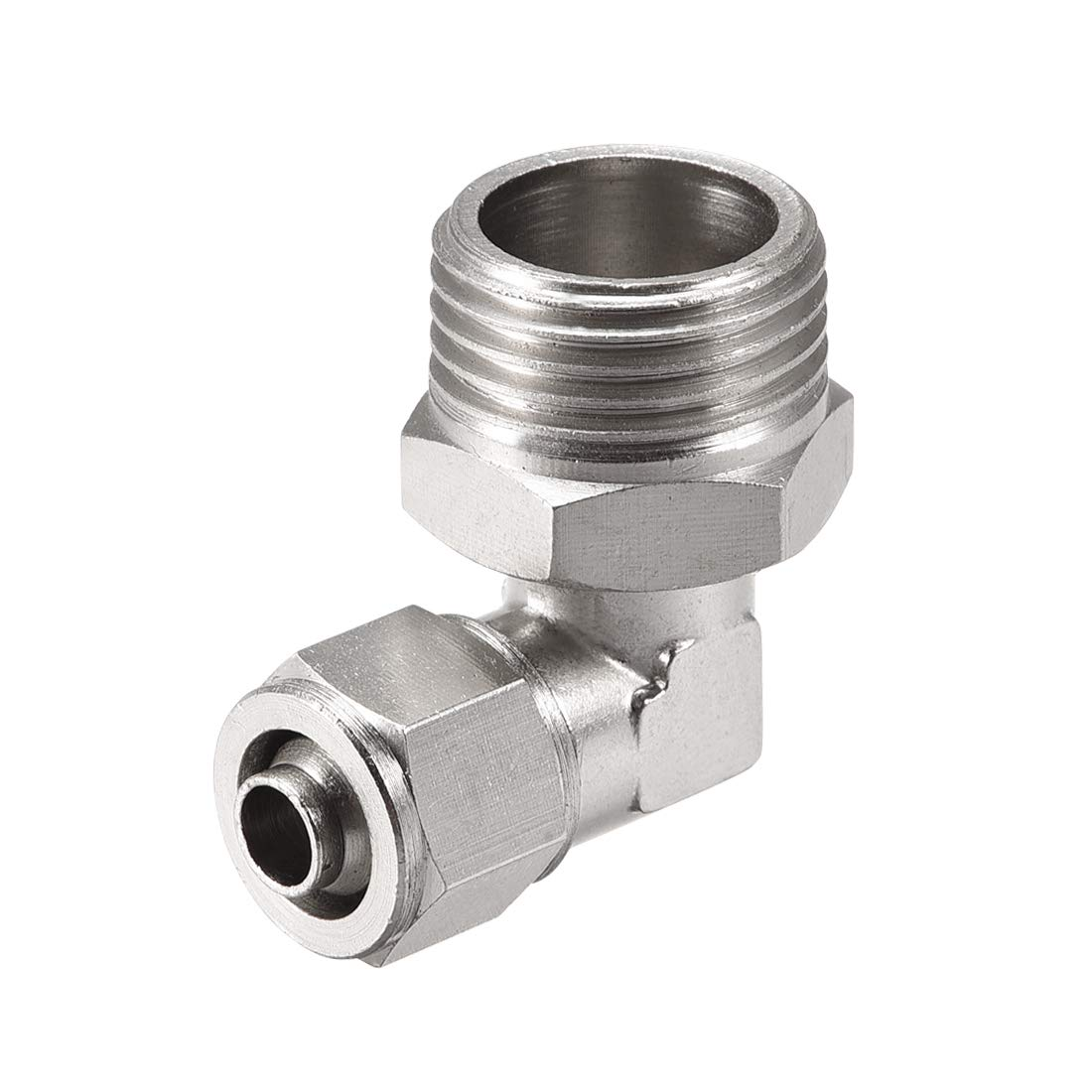 uxcell 10mm Tube OD to 1//2PT Male Thread Elbow Quick Fittings Nickel Plated Copper