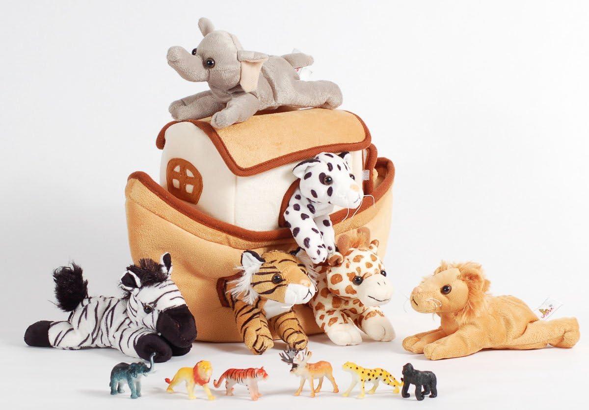 Plush Noah/'s Ark with Animals Six Stuffed Animals  in Play Ark 6