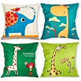 Throw Pillow Covers Decorative Pillowcases 18x18inch (4 pieces set) Pillow Cases Home Car Decorative (Elephant &Giraffe)