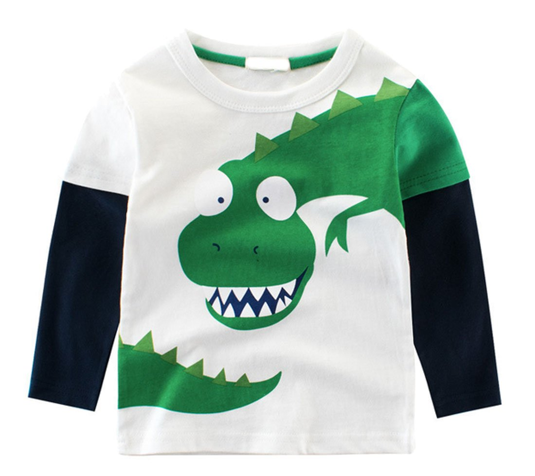 Cruiize Boys Little Kids Cartoon Long Sleeve Toddler Crewneck Funny T-Shirt White 4T