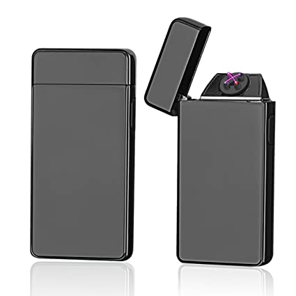 Oiikury Electric Lighter Rechargable Plasma Lighter Flameless Windproof Tesla Lighter Dual Arc Butane Free(Black