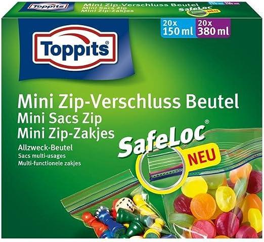 Toppits Mini Zip - Bolsa con Cierre/Bolsa Multiusos (20 x 150 ml + ...