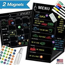 "Magnetic Menu Board Fridge Calendar - 17"" x 11"" - Large Reusable Meal Chalkboard - Dry Erase Weekly Monthly To Do Chore Reminder Shopping - 2018 Kitchen Gift Set - Best Supplies For Smart Planner"