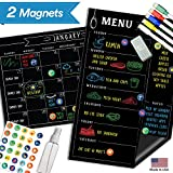 Magnetic Menu Board Fridge Calendar - 17'' x 11'' - Large Reusable Meal Chalkboard - Dry Erase Weekly Monthly to Do Chore Reminder Shopping - 2018 Kitchen Gift Set - Best Supplies for Smart Planner