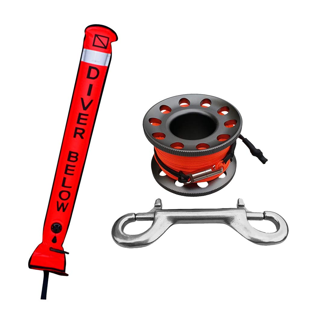 Seafard 4ft Red Scuba Diving Open Bottom Surface Marker Buoy (SMB) with 49ft Finger Spool Alloy Dive Reel and Double Ended Bolt Clip - Gray by Seafard