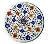 MS INTERNATIONAL 15'' Round Handcrafted Indian Marble Pietre Dure Pietra Dura Coffee Corner Table Top WITH STAND