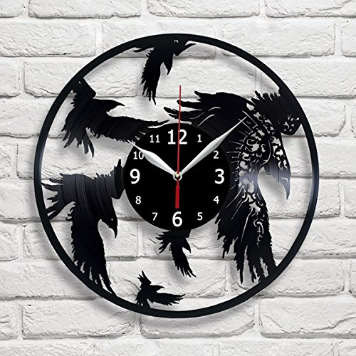 Crow Raven Bird Vinyl Record Wall Clock Decor Handmade Unique Original -