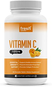 Vitamin C - Powerful 1500mg Per Day Immune Support - Tasty Chewable Vitamin C Supplement All Year-Round Potent Support - Vegan Friendly, Non-GMO, Gluten & Soy Free - All Natural Vit C immunity Booster