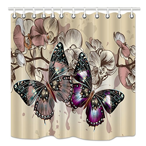 NYMB Monarch Butterfly Decor Shower Curtain, Spring Rustic Purple Wild Flowers Bath Curtains, Waterproof Fabric Bathroom Decorations, Shower Curtains 12PCS Hooks Included, 69X70 Inches, Beige