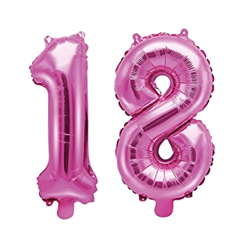 Unbekannt Globo de plástico/Número 18/18 Cumpleaños Chica ...
