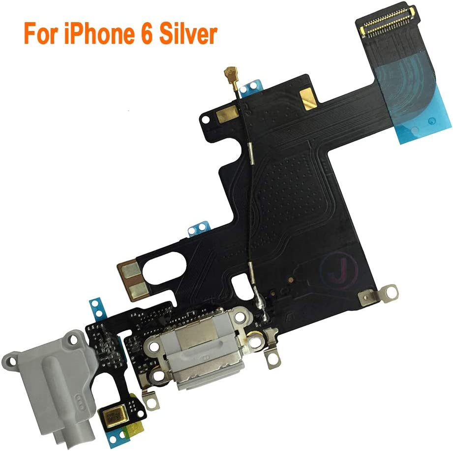 Johncase OEM Charging Port Dock Connector Flex Cable w/Microphone + Headphone Audio Jack Port Ribbon Replacement Part Compatible for iPhone 6 All Carriers (Light Gray)