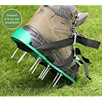 Lawn Aerator Spike Shoes, Ohuhu Adjustable Aerating Lawn Soil Sandals with Metal Buckles and 3 Adjustable Straps, Heavy Duty Spiked Sandals for Aerating Your Lawn or Yard