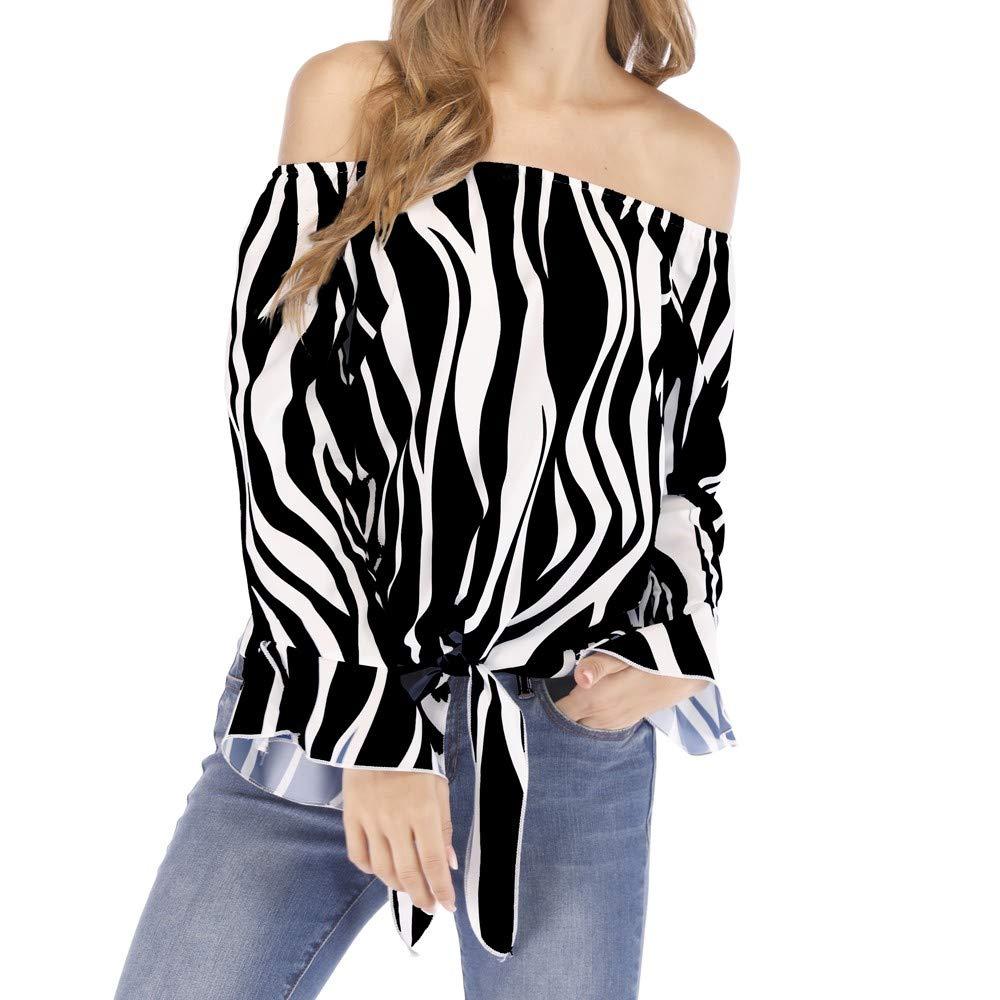 a81a23faa7d5f9 Top10  UONQD Woman Women Striped Off Shoulder Waist Tie Blouse Short Sleeve  Casual T Shirts Tops