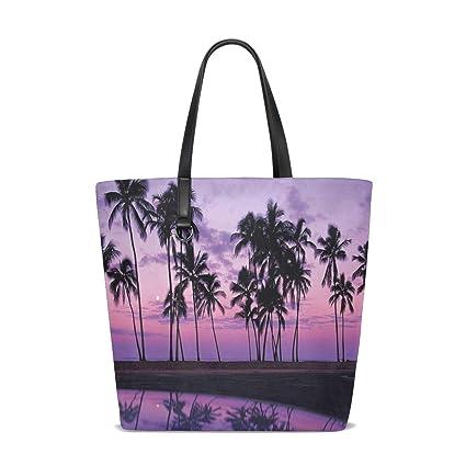Amazon.com   Nature Palms Sunset Tote Bag Purse Handbag ...