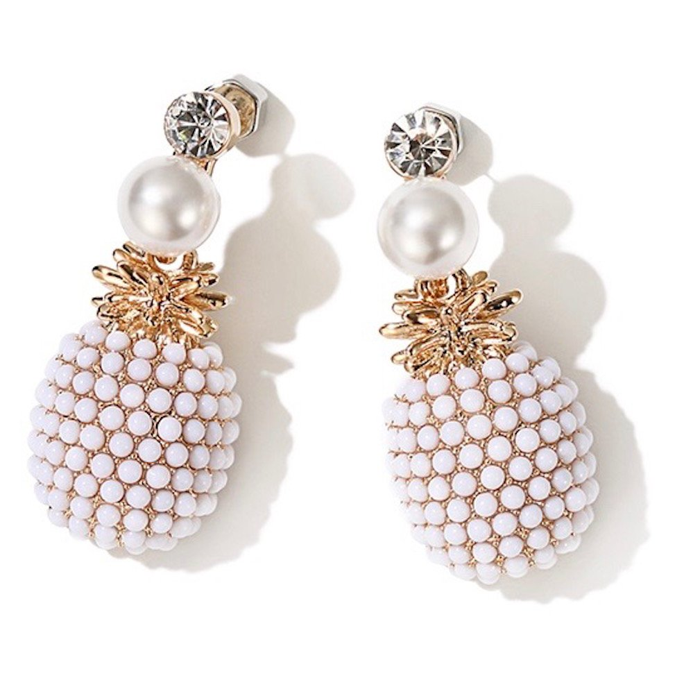 MISASHA Women Jewelry Tropical White Pinapple Fruit Faux Pearl Boho Chic Dangle Earrings