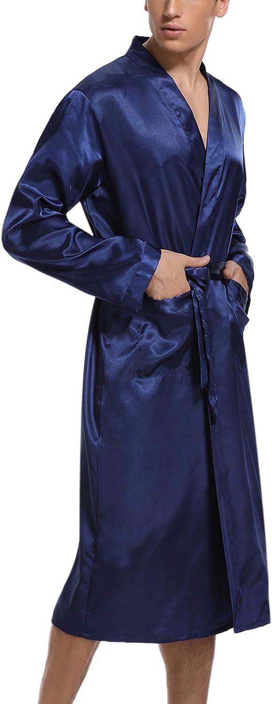 Hawiton Peignoir Homme Satin Tissu Doux Et Confortable Tr/ès Appropri/é pour Les Pyjamas pour Homme Robe Kimono V/êtements De Nuit D/écollet/é en V avec Ceinture