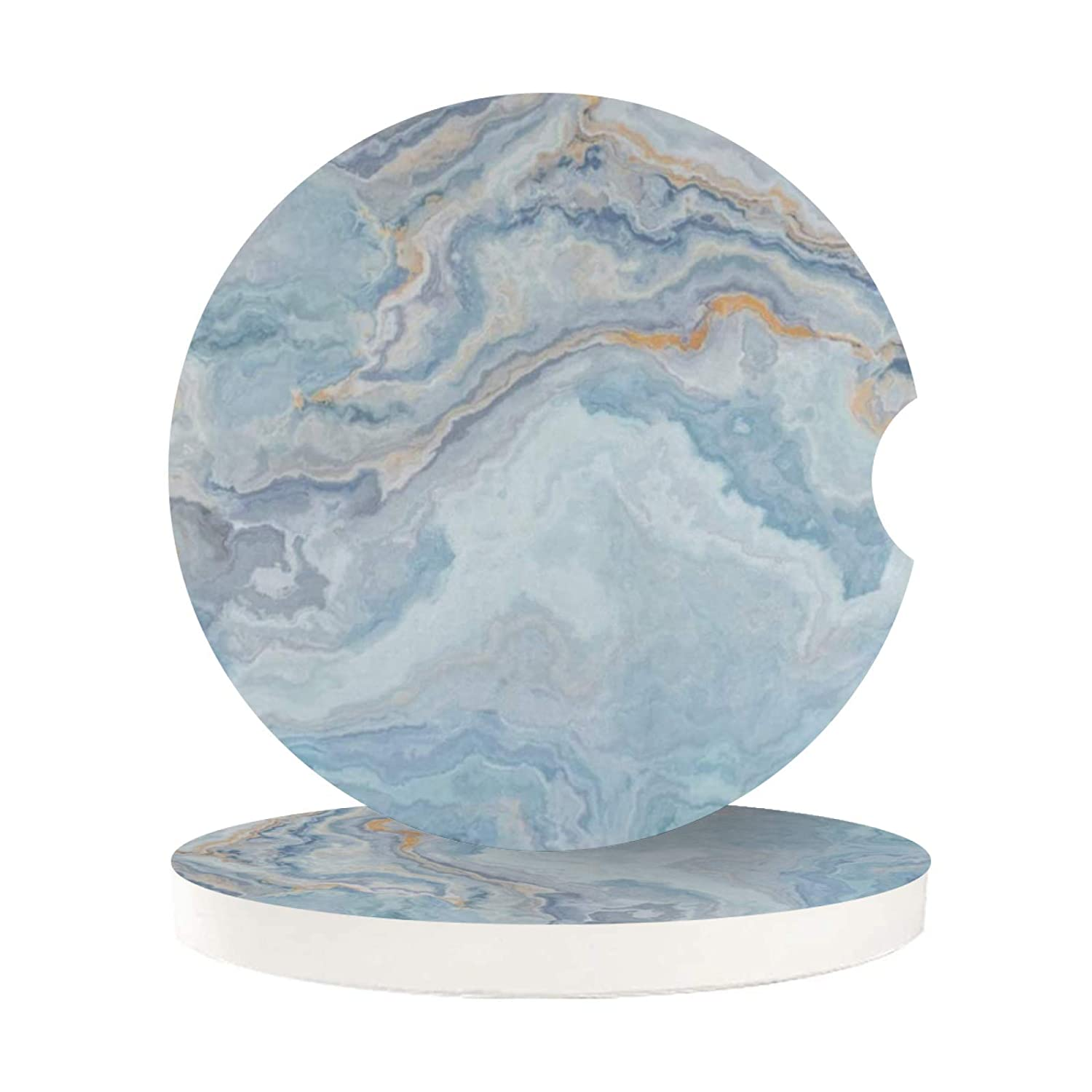 Car Coasters for Cup Holders Insert 2 Pack Light Blue Marble Unique Stone Texture Auto Cupholder Coaster for Your Car Womens Mens Girls Drinks Absorbent Cork Wood Beverage Coasters Set Round