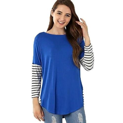 OverDose Para mujer de la raya empalmado Ronda de manga larga cuello jersey blusa de la camiseta de las tapas