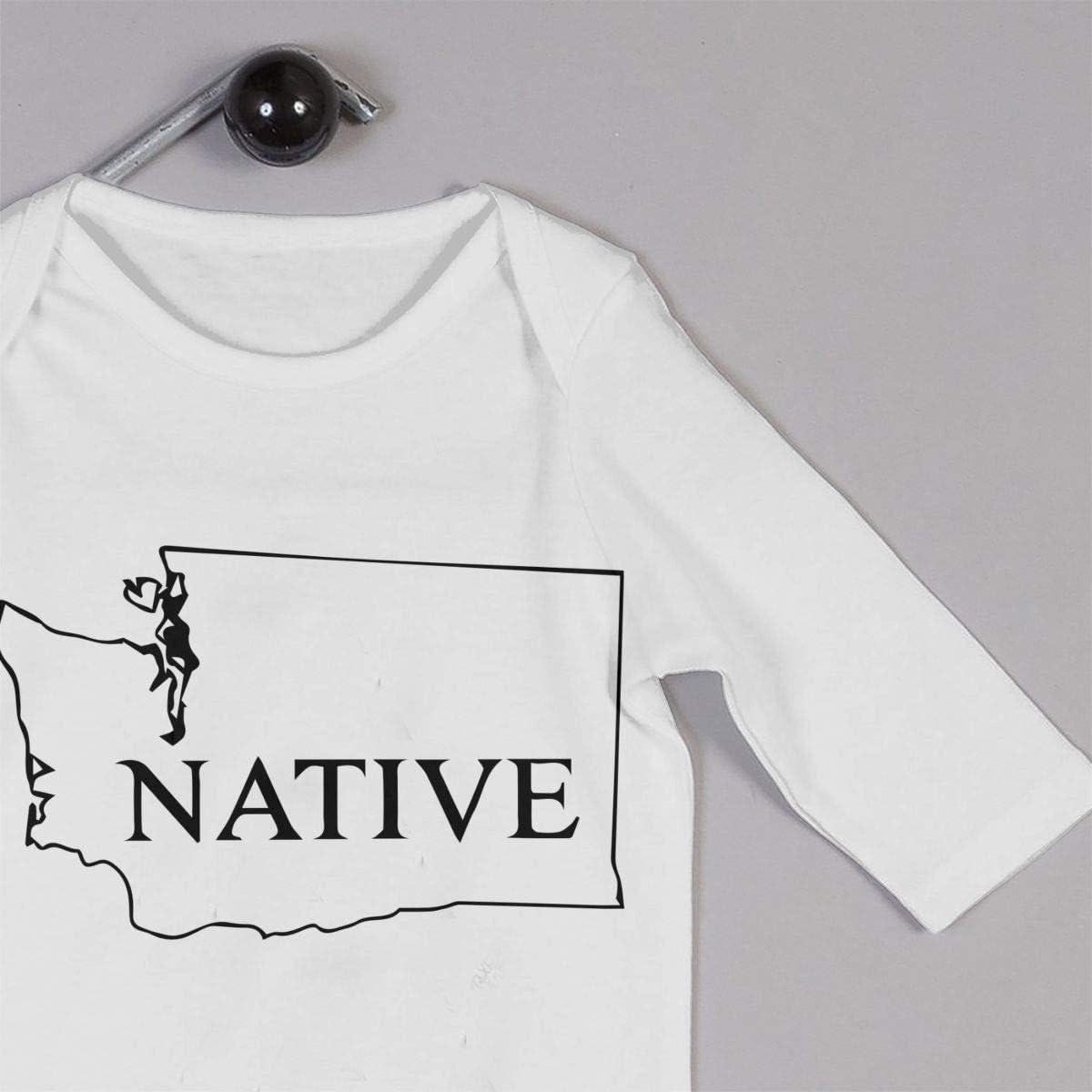 Washington State Native Printed Newborn Baby Boy Girl One-Piece Suit Long Sleeve Pajamas White