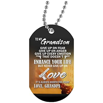 Amazoncom Meaningful Quote To My Grandson Dog Tag Necklace Chain