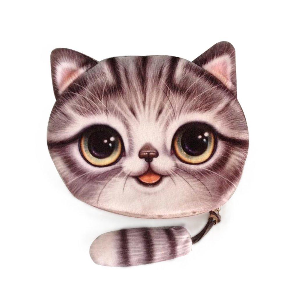 Lui sui-新しいCoin Purses財布かわいい猫ハンドバッグ変更バッグcr11 B01C3QD59Q  グレー