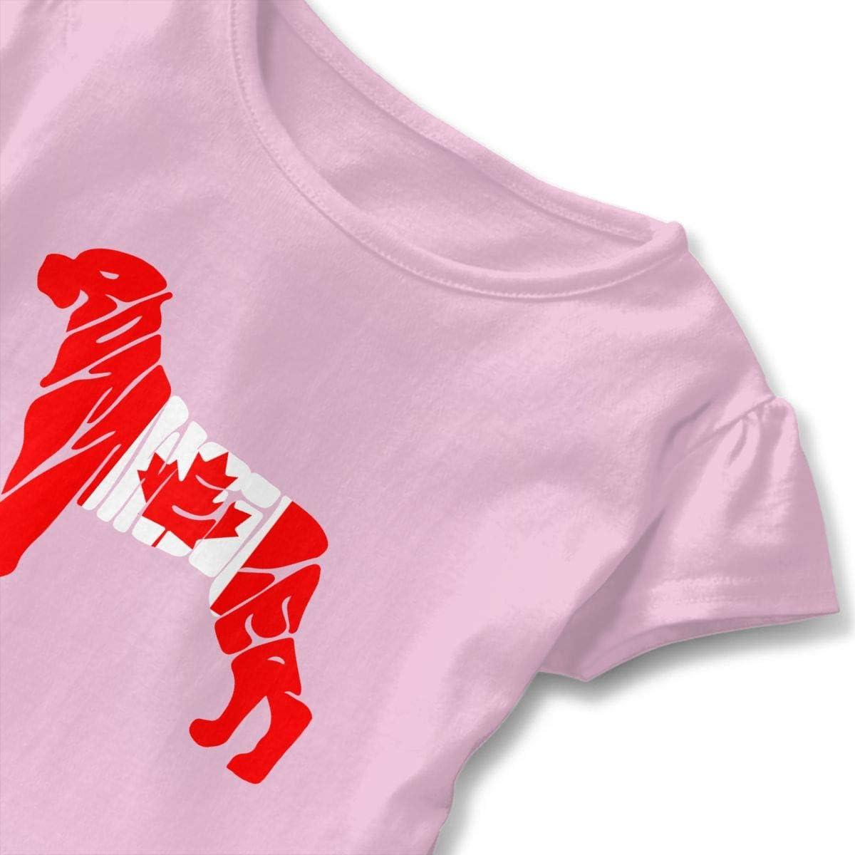26NSHIRT Canada Flag Rottweiler Dog Baby Girls Short Sleeve Cotton T-Shirts